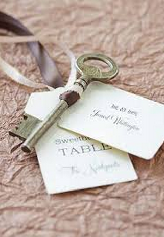 Vintage Key Escort Wedding Cards
