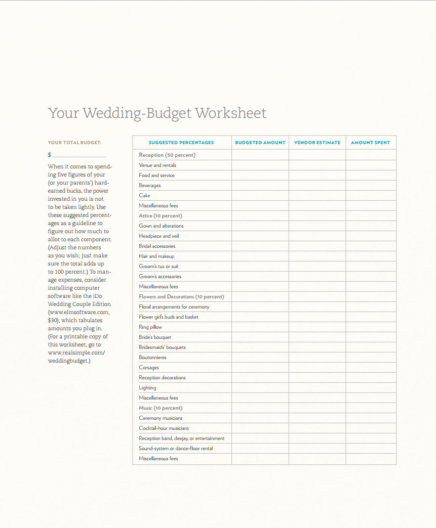 Wedding Budget Worksheet 1