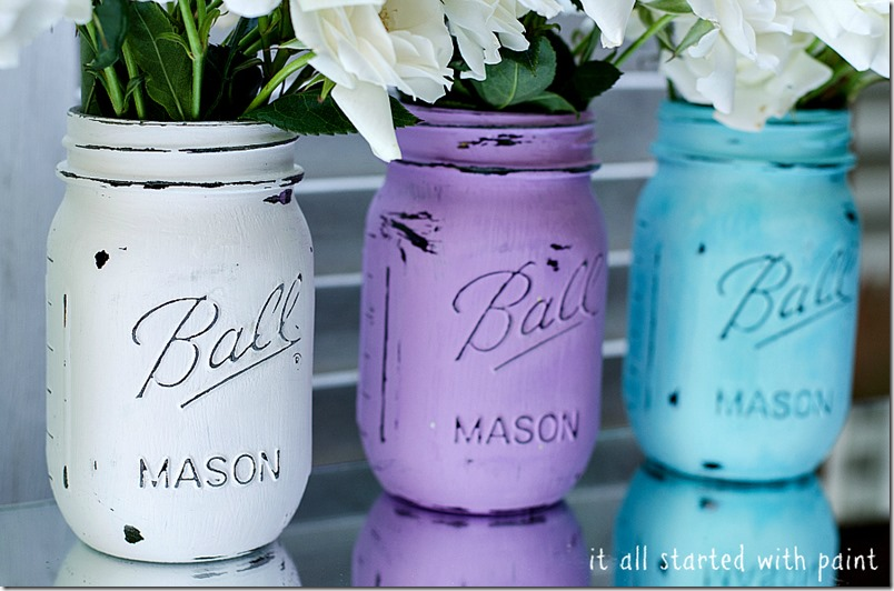mason jars painted & distressed