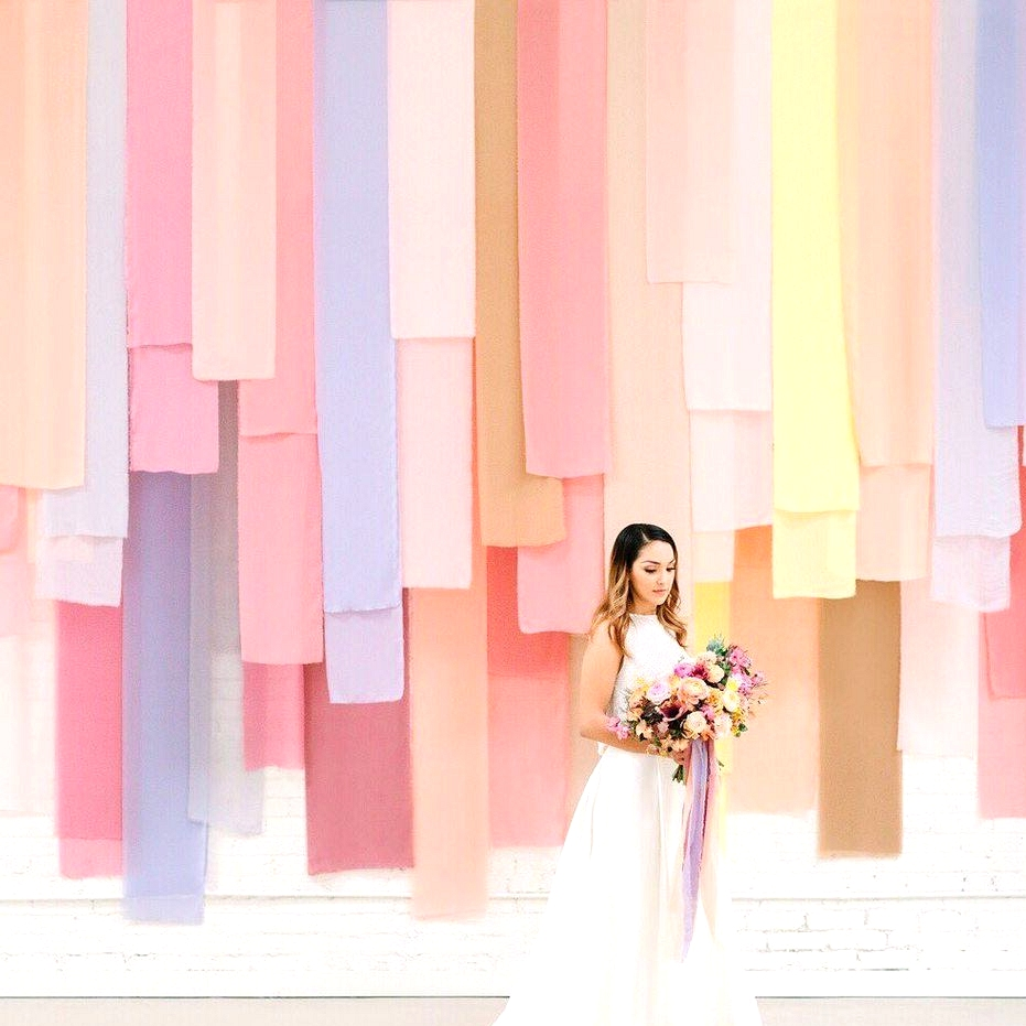 colorful fabric wedding backdrop