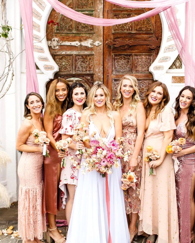 wedding drape ceremony backdrop with bridesmaids