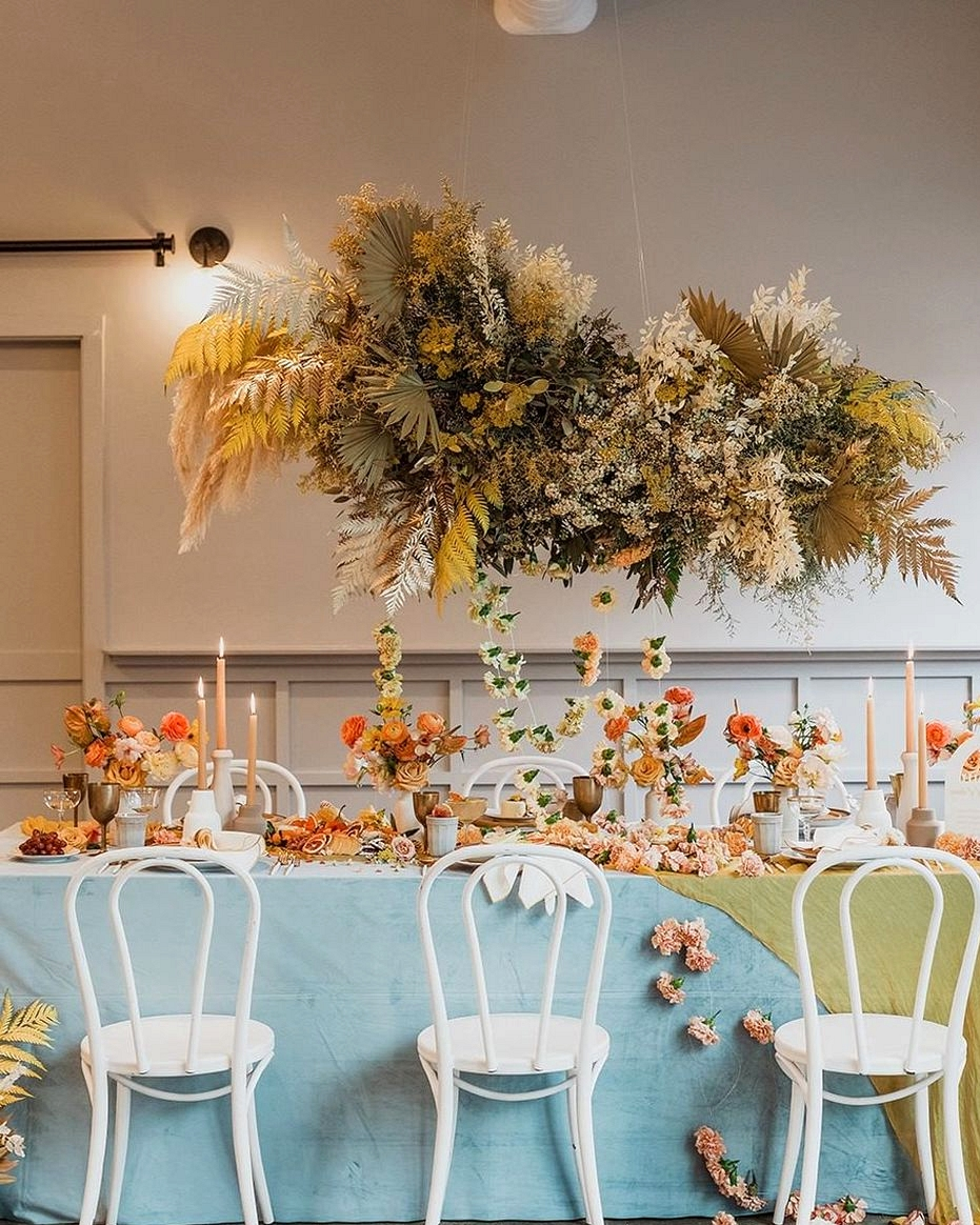modern wedding table with silk linen draping