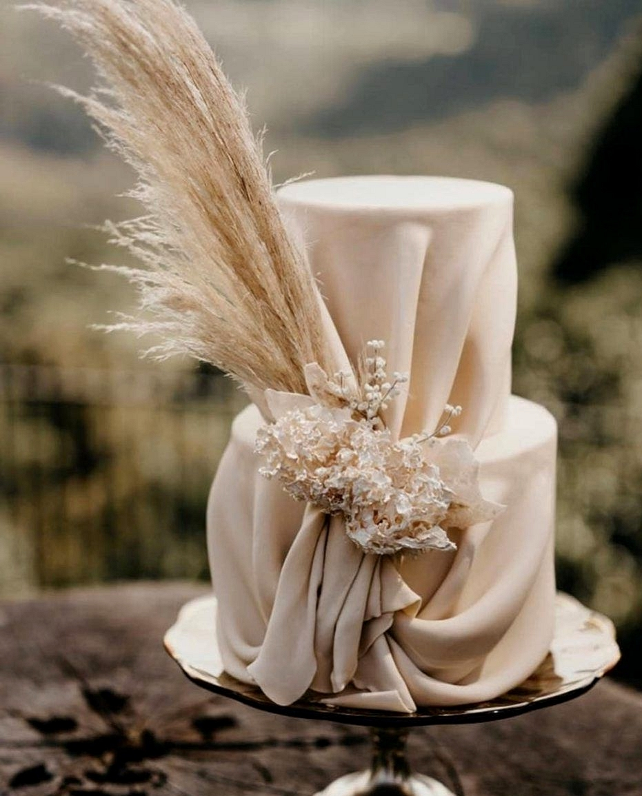 beige draped wedding cake