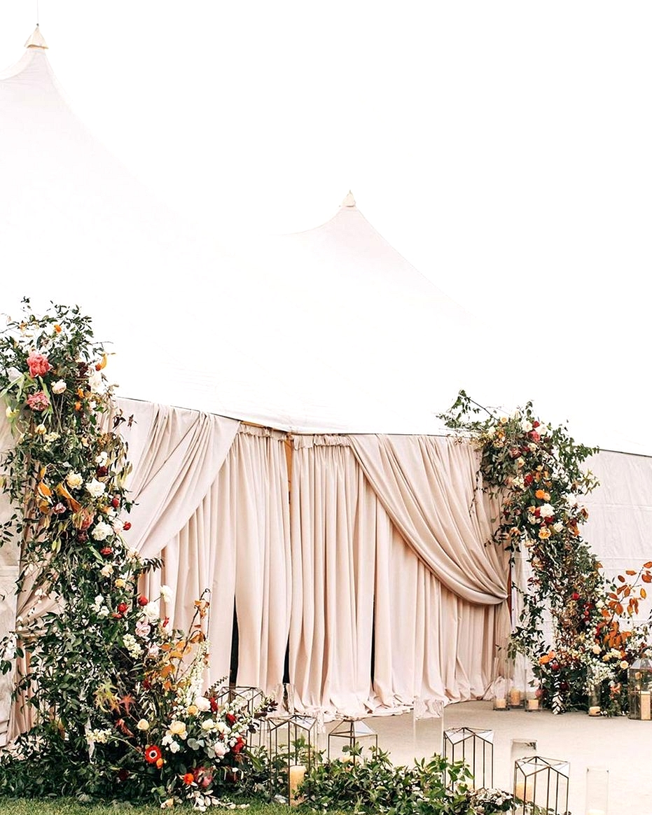 sailcloth tent with blush drapery