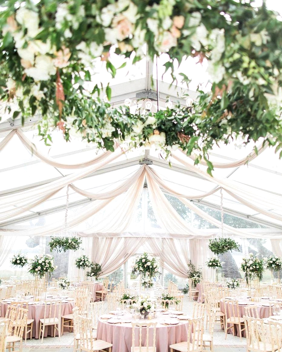wedding reception with romantic draping
