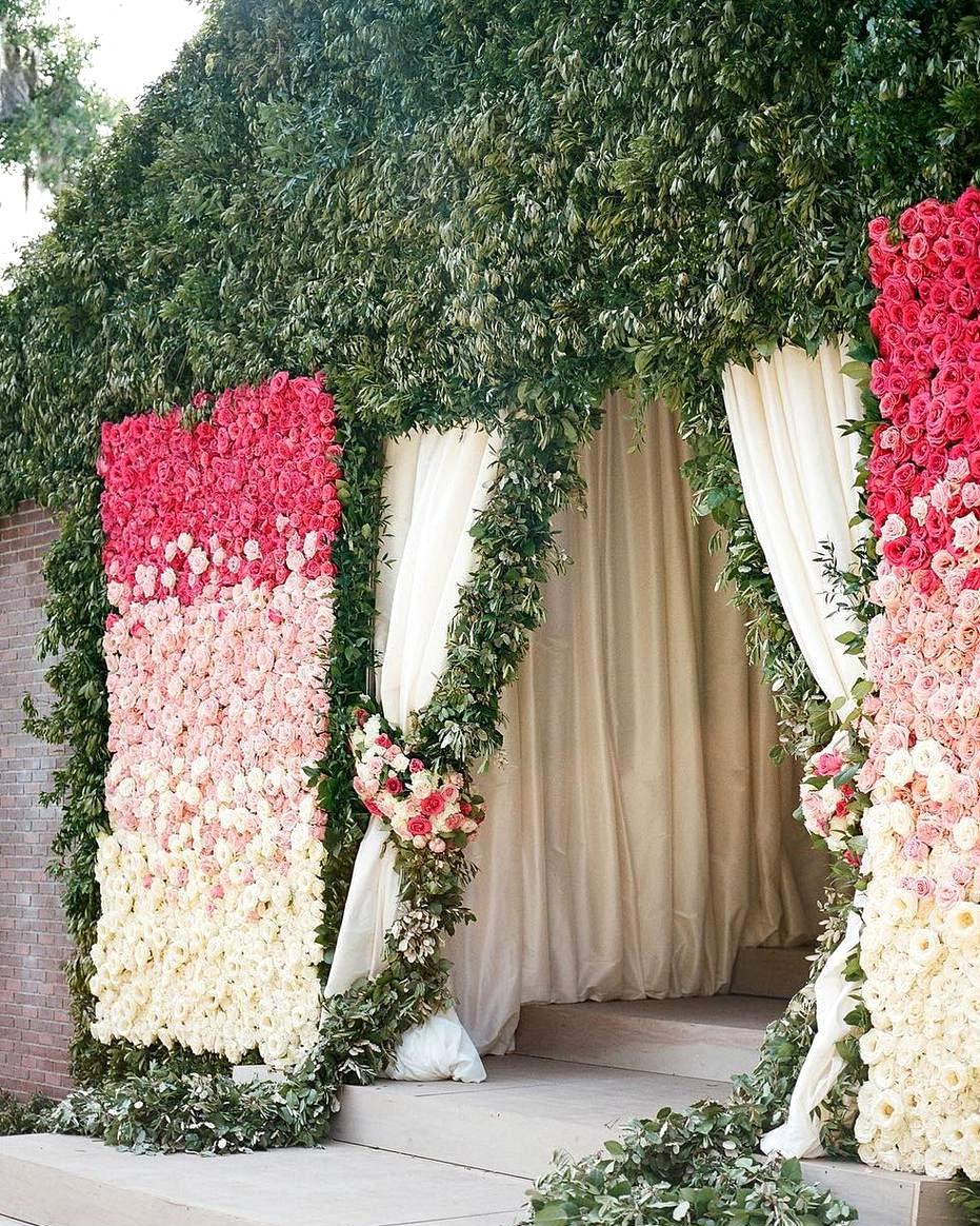 ombre floral wedding reception decor