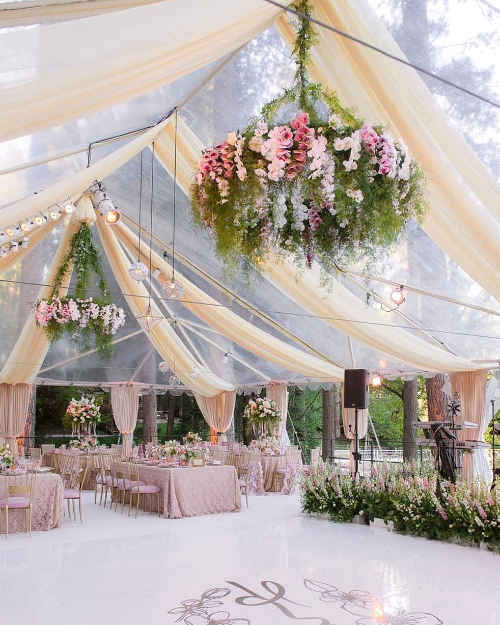 pastel wedding reception with classical draping