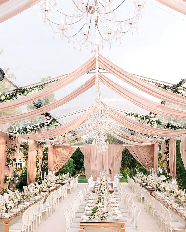 pink wedding drapes reception decor