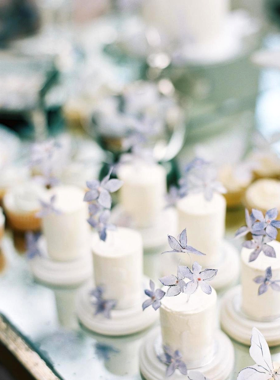 mini wedding cakes with lavender sketched sugar flowers
