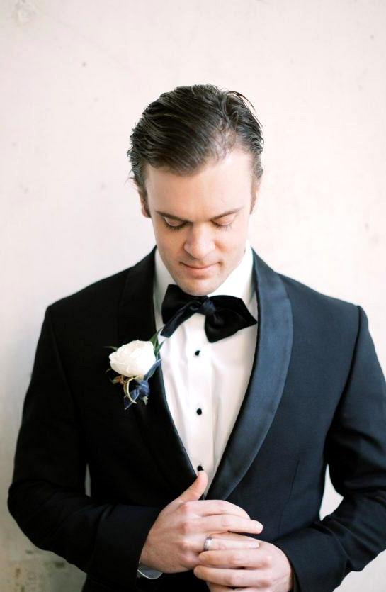black groom tux