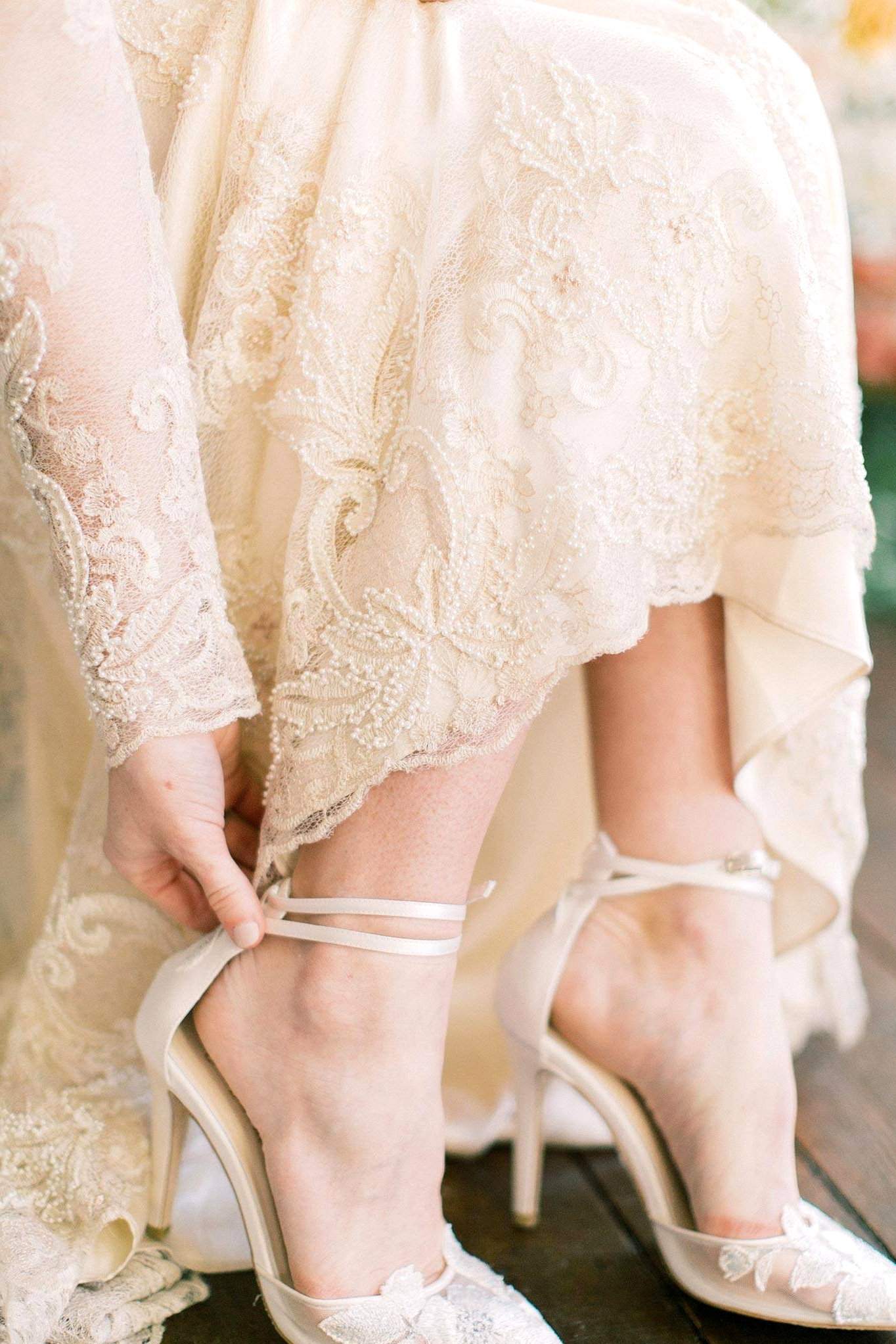 semi sheer lace bridal heels with straps
