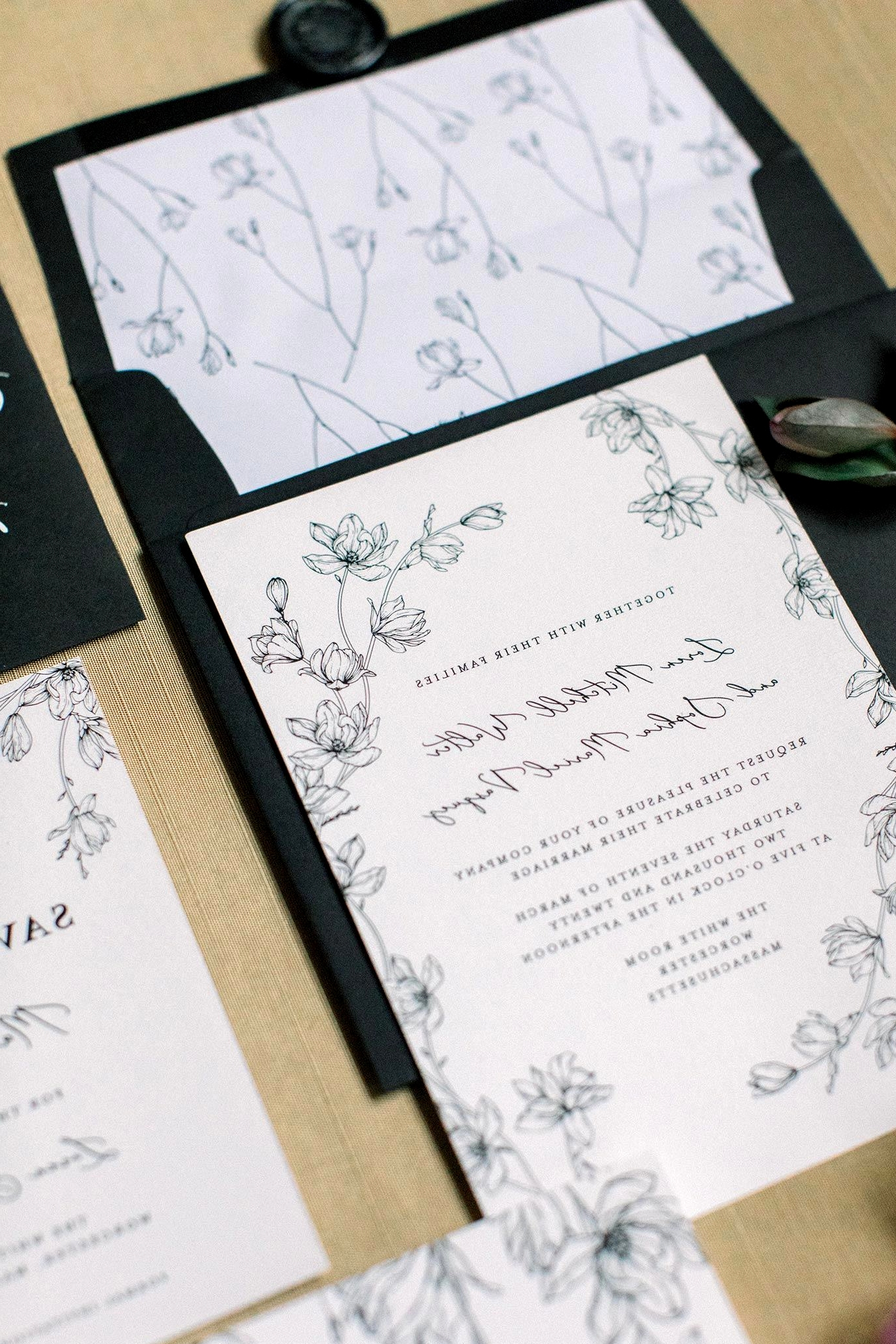 botanical sketch wedding invitations with black and white palette