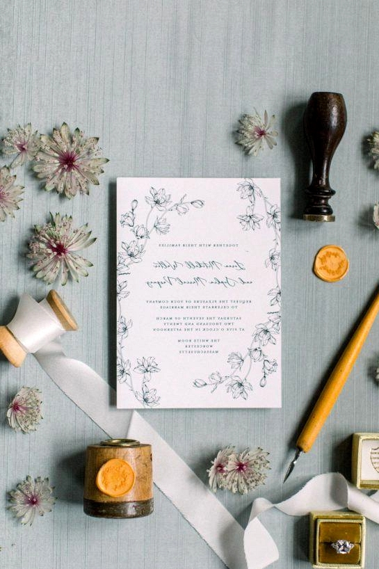 Botanical Sketch Wedding Inspo Teal Honey 025