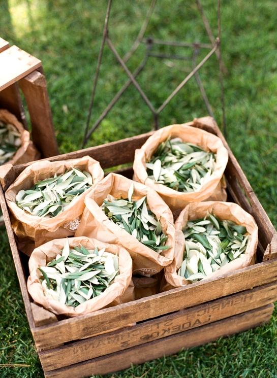 olive leaves wedding toss