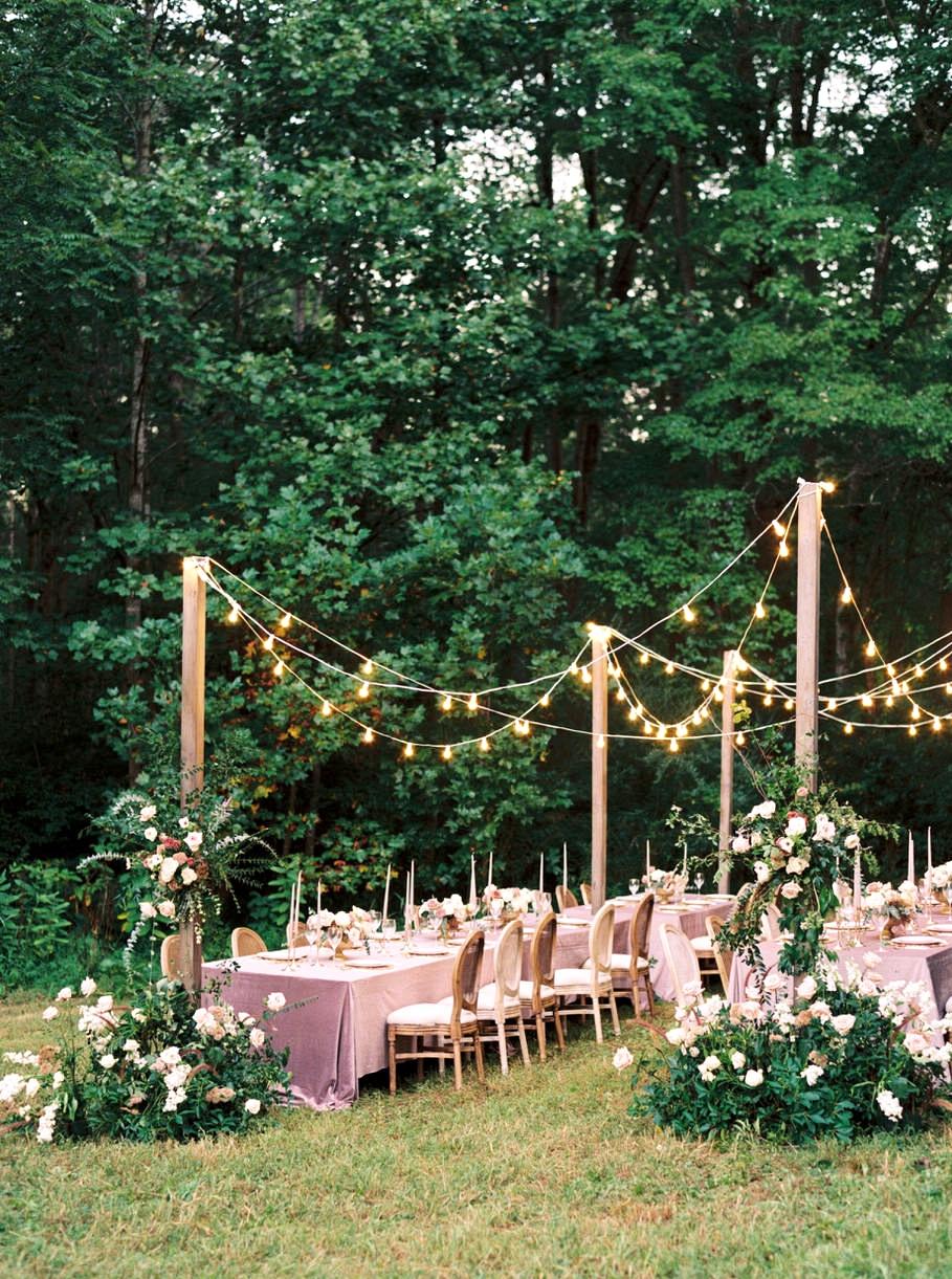 festoon lights line the reception area
