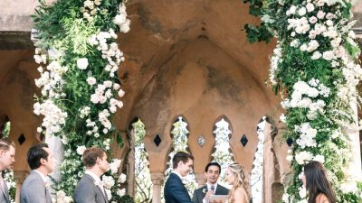 Villa Cimbrone Wedding ceremony Full of Greenery and a Giant Flower Arch