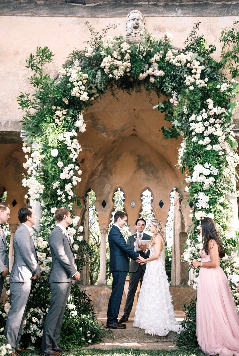 Villa Cimbrone Wedding Filled with Greenery and a Large Flower Arch ⋆ Ruffled