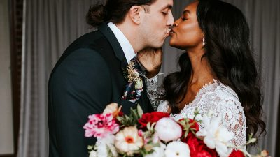 Boho Atlanta Marriage ceremony in Pops of Crimson Crimson and Teal