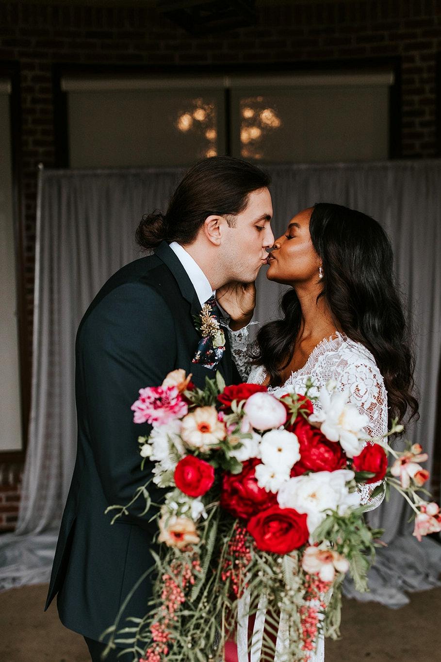 Boho Atlanta Wedding in Pops of Crimson Red and Teal ⋆ Ruffled