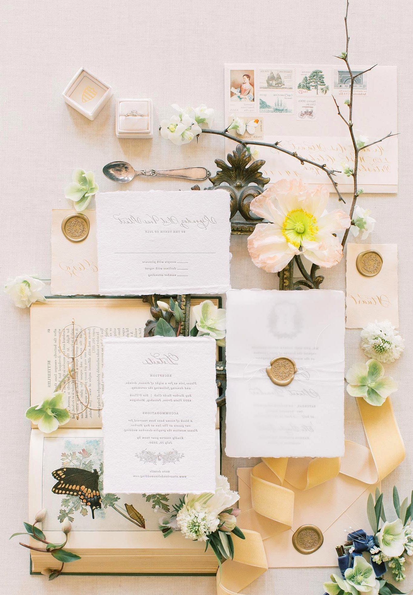 Old World romantic wedding invitation suite with wax seal details and letterpress printing