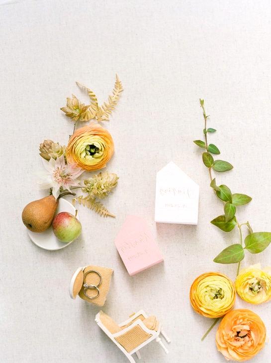 fruit as wedding decor flatlay