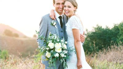 Sunny California Wedding ceremony with Ferns and Potted Crops