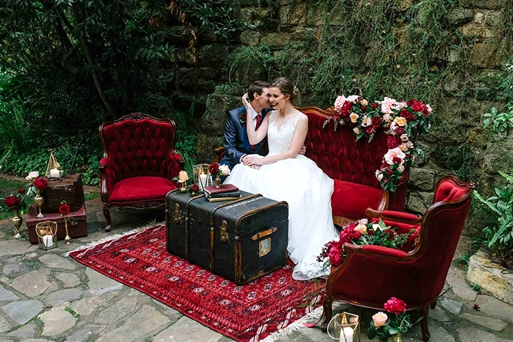 Burgundy & Gold Wedding Inspiration at a Magnificent Manor