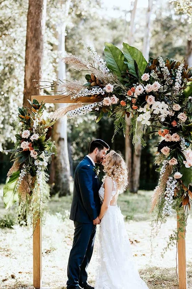 Boho peach woodland wedding ceremony arbour | My Little Love