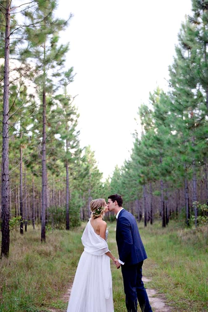 Woodland wedding bride and groom