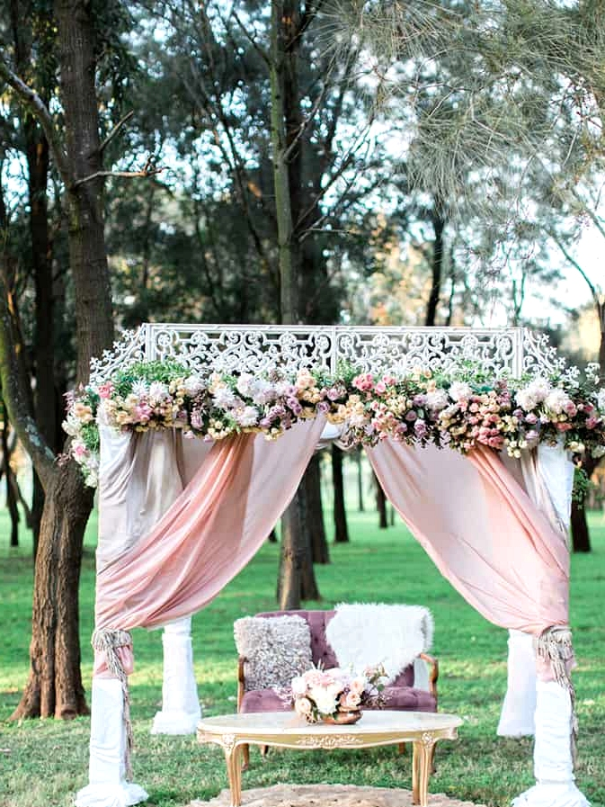 Pastel bohemian wedding ceremony