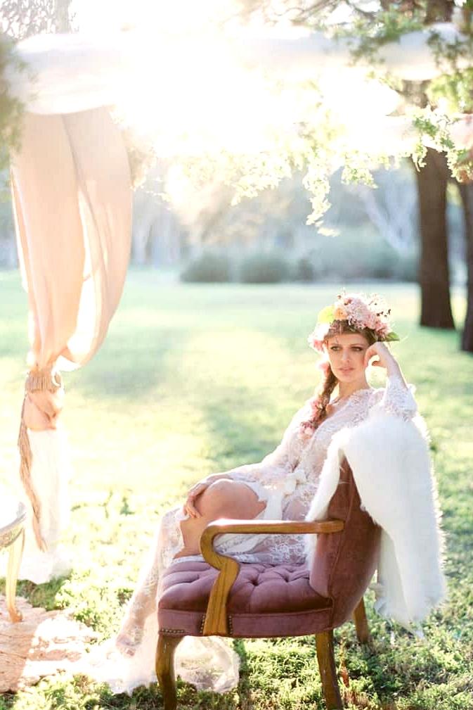 Bohemian bride in lace robe