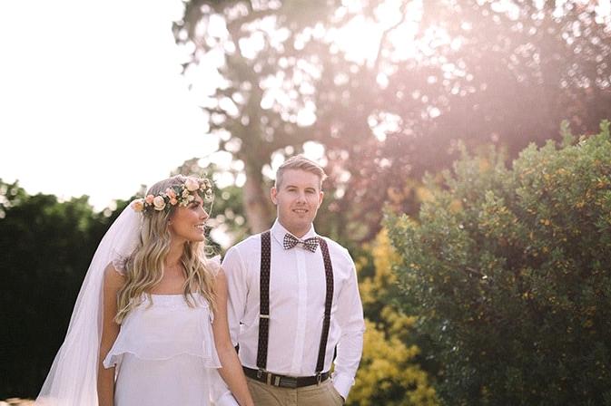 Relaxed-Vintage-Boho-Wedding-Inspiration-Bride-Flower-Crown-Groom-Bow-Tie-Suspenders-2