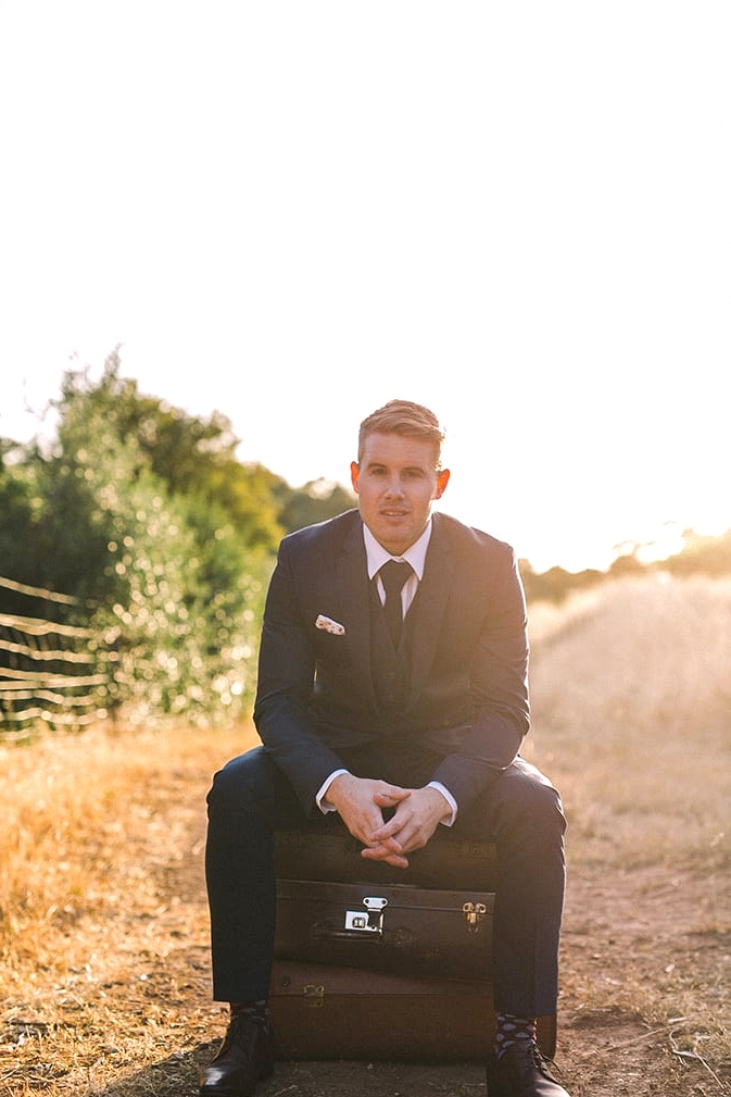 Relaxed-Vintage-Boho-Wedding-Inspiration-Groom-Navy-Suit