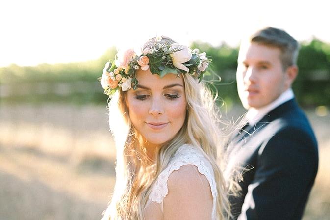 Relaxed-Vintage-Boho-Wedding-Inspiration-Bride-Flower-Crown-Groom