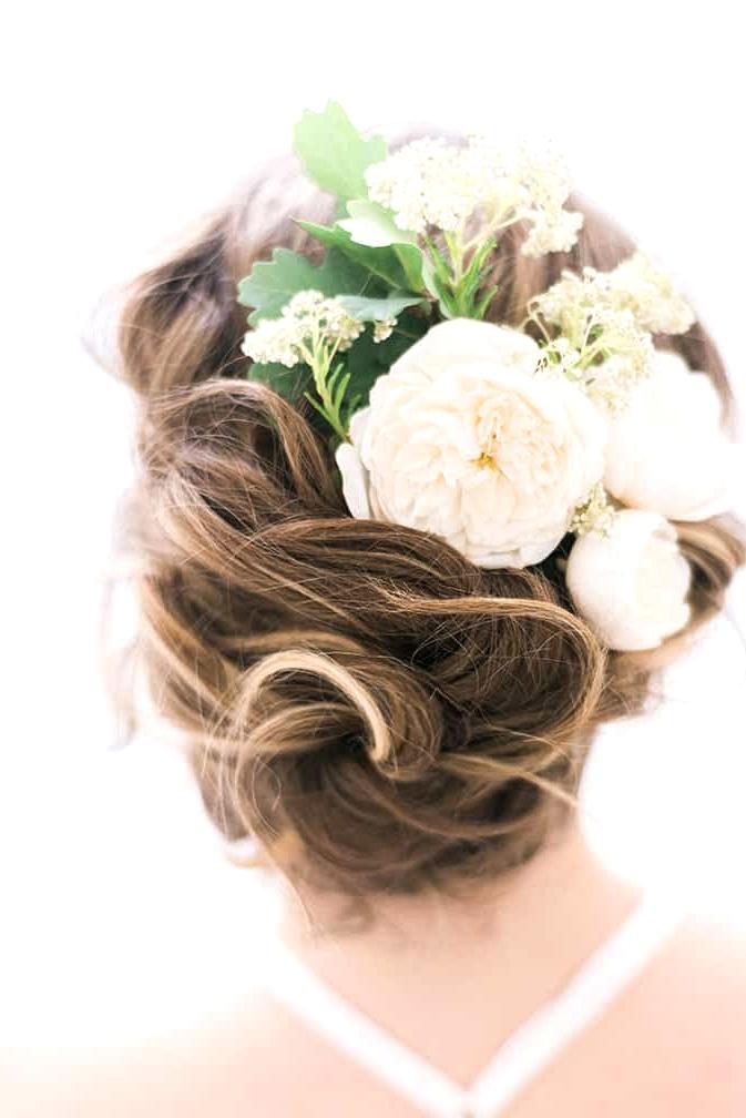 Elegant-Bridal-Boudoir-Inspiration-Relaxed-Updo-Hair-with-Flowers