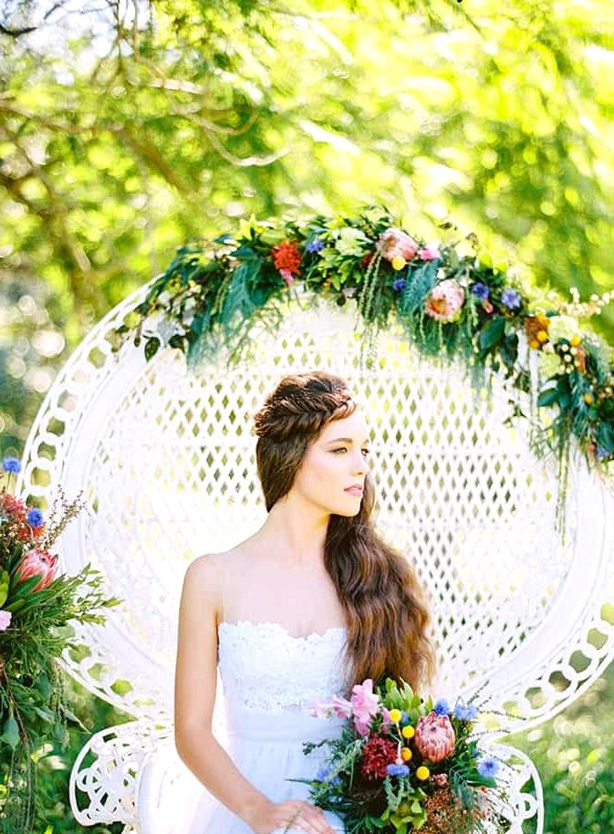 Natural-Bohemian-Wedding-Inspiration-Bright-Australian-Native-Flowers-Peacock-Chair-Dress-Braid-3