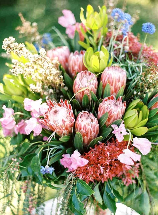 Natural-Bohemian-Wedding-Inspiration-Bright-Australian-Native-Flowers-Table-Arrangement-2