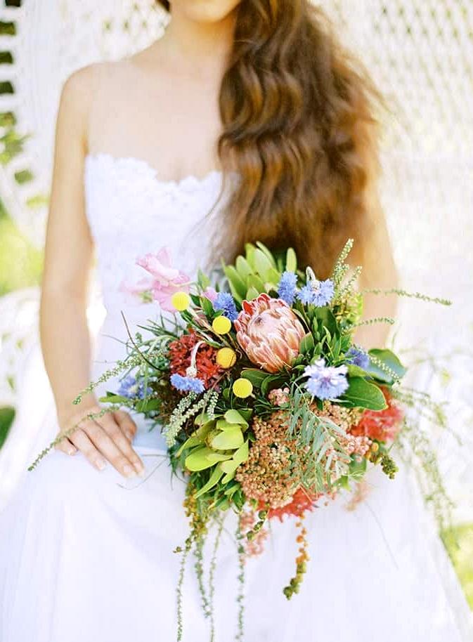 Natural-Bohemian-Wedding-Inspiration-Bright-Australian-Native-Bride-Bouquet