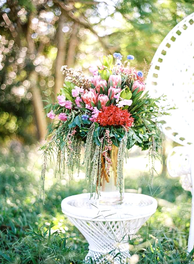 Natural-Bohemian-Wedding-Inspiration-Bright-Australian-Native-Flowers-Table-Arrangement