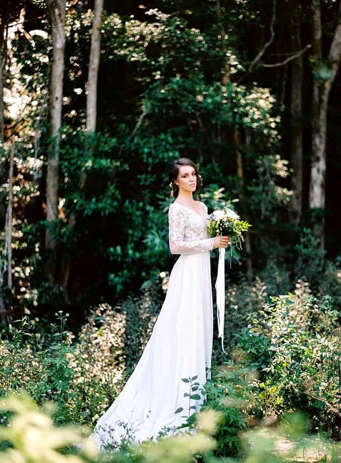 Natural-Bohemian-Wedding-Inspiration-Long-Sleeved-Dress-Woodland-Bouquet