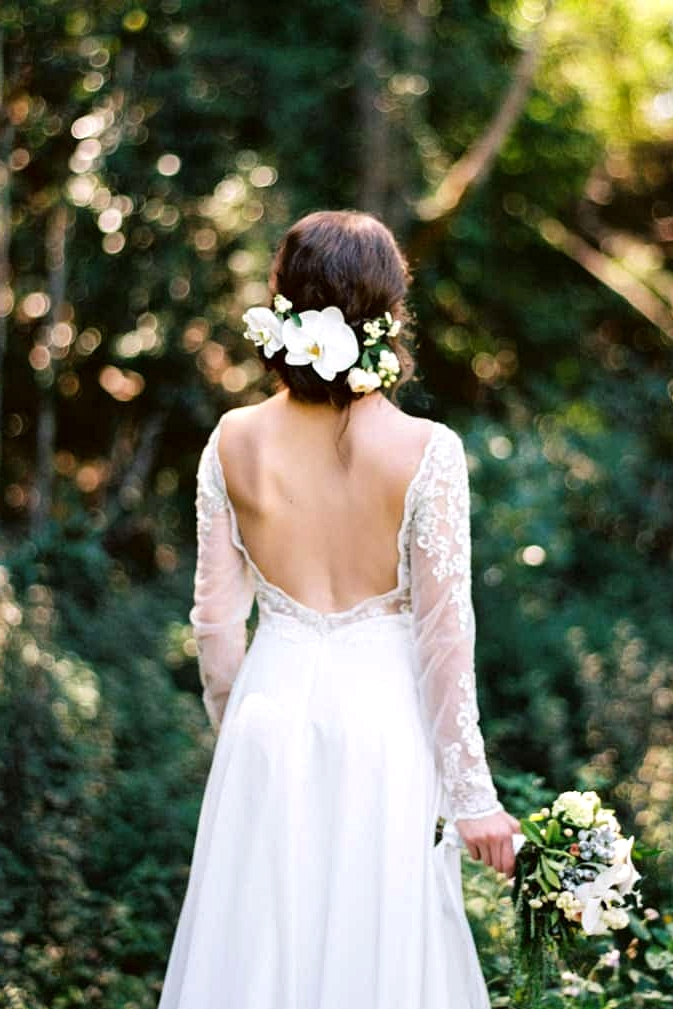 Natural-Bohemian-Wedding-Inspiration-Long-Sleeved-Backless-Dress-Orchid-Flower-Hairpiece