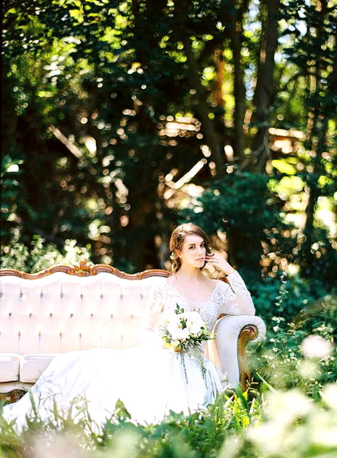 Natural-Bohemian-Wedding-Inspiration-Cream-Vintage-Lounge-Long-Sleeved-Dress-Bouquet-2