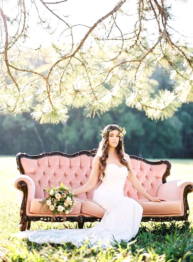 Natural-Bohemian-Wedding-Inspiration-Pink-Vintage-Lounge-Strapless-Lace-Dress-Bouquet