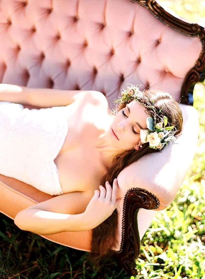 Natural-Bohemian-Wedding-Inspiration-Pink-Vintage-Lounge-Wild-Rose-Flower-Crown-Strapless-Lace-Dress