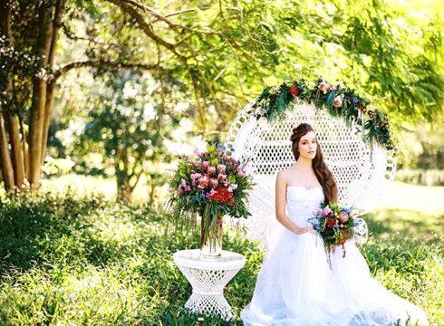 Natural-Bohemian-Wedding-Inspiration-Bright-Australian-Native-Flowers-Peacock-Chair-Dress-Braid-2