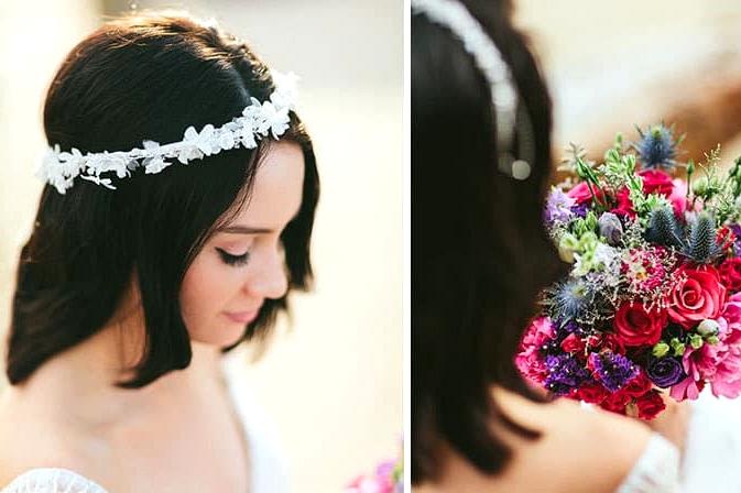 Bright wedding bouquet and fabric flower headpiece
