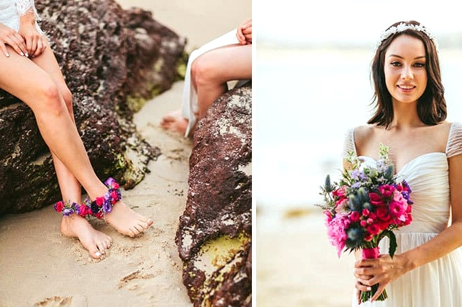 Bride holding bright bouquet and floral anklets
