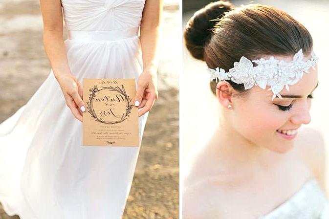 Romantic vintage headpiece and natural illustrated invitation
