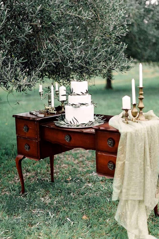 Romantic-Bohemian-Wedding-Inspiration-Olive-Leaf-Cake-Display
