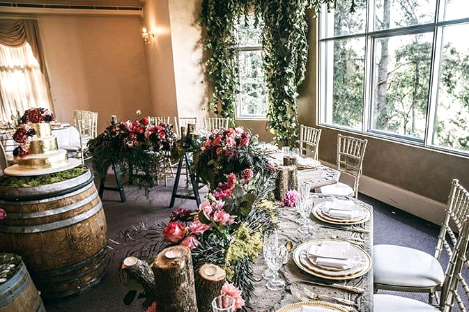 Woodland bridal table decor